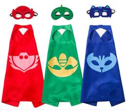 masque spiderman iron man Promotion 2017 vente chaude Double côté L70 * 70cm enfants Superhero Capes et masques / Batman Spiderman Flash Supergirl Batgirl Robin pour enfants capes avec masque