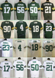 Wholesale 2017 Elite Brett Favre Randall Cobb Davante Adams Clinton Dix Randall Julius Peppers BJ Raji AJ Hawk Jerseys