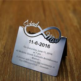 Wholesale Custom Metal Cutting - Wholesale- free shipping silver laser cut Twist shape metal wedding invitation card , Personalized custom service 100 pcs lot , by901