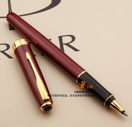 Wholesale Office Gel Pens - Free Shipping Parker Sonnet Red Gold Roller Ball Pen School Office Supplies Metal Top Quality Stationery Ballpoint Signature Writing Pens