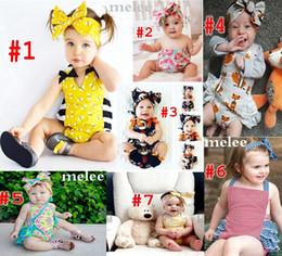 Wholesale Wholesale Diaper Kid - INS Baby Bee romper sets Baby Girls fox suspender jumpsuit & Big Bows headbands 2pcs sets kids cotton jumpsuit todder boutique diaper suit
