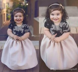 Wholesale Girls Short Fancy Dress - Satin Lace Applique Bow Hollow Flower Girl's Dresses Cute Ball Gown Fancy Stunning Short Sleeve Party