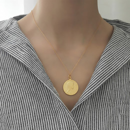 Wholesale Indian Gold Dollar - Europe and America Hot Fashion 18K Yellow Gold Plated Golden 925 Sterling Silver Dollar Coin Pendant Necklace for Girls Women Nice Gift