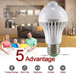 Wholesale 5w Infrared - 1pcs PIR Motion Sensor Lamp 5w Led E27 Bulb 7w 9w Auto Smart Led PIR Infrared Body Lamp With The Motion Sensor Lights