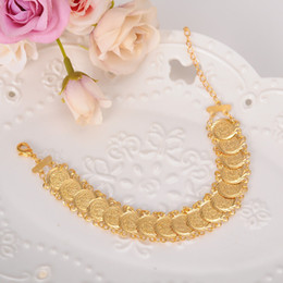 Wholesale Muslim Bracelets - Sky talent bao coin Bracelet 22K Gold GF Islamic Muslim Arab Coin Bracelet Women Men Arab Country Middle Eastern Jewelry