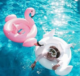 Wholesale Inflatable Toddler Bath - Swan Inflatable Float Swim Ring colorful box packed Baby Summer Toys Flamingo red white Swimming Seat Ring toddler Water beach Toys