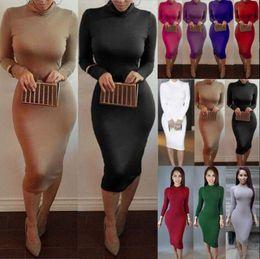 Wholesale Wholesale Bodycon Midi Dress - Women Bodycon Long Sleeve Pencil Dress Party Cocktail Evening Slim Dress Long Midi Dress Slim Pencil Dresses 11 Colors OOA2953