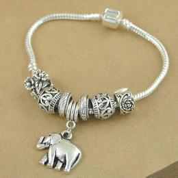 Wholesale tibetan silver chain bracelets - Ethnic Style Link Chain Gypsy Animal Elephant Charms Bracelets For Women Tibetan Silver Plated Beaded Bracelets Jewelry