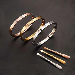 Wholesale European American Fashion Ring - Fashion Titanium Steel Carter Love Bracelet Bangle Screwdriver Snap Button Couple Bracelets For Women Men Jewelry pulseras muje