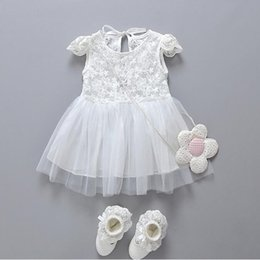 Wholesale Baby Clothes Wholesale Korea - Lace Baby Dress White Cap Sleeve Chiffon Girls Party Dress Posh Newborn Baby Clothes Dress Pattern Korea 2017 Newborn Outfit