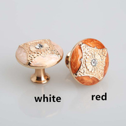Wholesale amber glass knobs - 34mm Kitchen cabinet pulls handles Rose gold drawer knobs red white amber dresser handle glass diamond modern furniture knobs handles