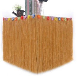 Wholesale Tropical Grasses - Flowers Edged Artificial Hula Grass Table Skirt Hawaiian Tropical Luau Party Tableware Birthday Party Tables Decor