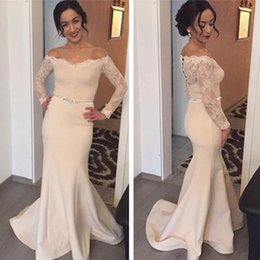 Wholesale Cheap Sexy White Stretch Dress - Champagne Long Evening Dress 2017 Off-Shoulder Robe De Soiree Sheer Long Sleeves Covered Button Stretch Prom Dress Cheap Free Shipping
