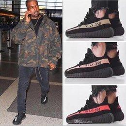 Wholesale Infant Shoes Gold - Cool Zebra Black Red Infant Sport Shoes V2 Kanye west 350 BOOST v2 New With BOX Black White Grey Orange Running Men Sneaker