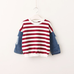 Wholesale Unisex Denim Shirt - Boys Clothes 2017 Boys Striped Denim T-shirts kids Boys Cotton Hallow Out Tees Babies Fashion Casual Jumper Fleece baby clothing