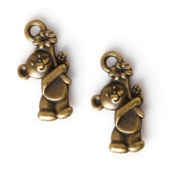 Wholesale Bear Charm Pendant Bronze - Fashion Sale 11pcs lot 19*10mm Antique Bronze Plated Charms Bear Pendants Zinc Alloy Charms Jewelry Findings Fit DIY