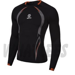 Wholesale Tshirt Muscle Print - Wholesale- Newest fitness men long sleeve t shirt men thermal muscle bodybuilding compression tights tshirt