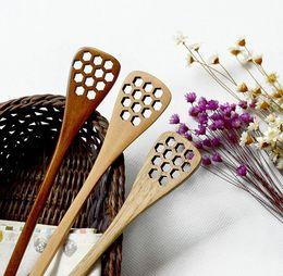 Wholesale Honey Stirrer Stick - Wood Honey Stick Stirrer 18.2*3cm Creative sculpture honeycomb long handle scoop solid wood kitchen utensils