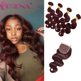 Wholesale Red Burgundy Hair - 99J Red Lace Closure With Bundles 7A Mink malaysian Body Wave With Closure 4 Bundles Brazilian Virgin Hair With Closure Deals