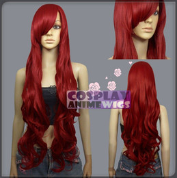 Wholesale Wig Silver White Long - 100cm Dark Red Heat Styleable Curly Wavy Long Cosplay Wigs N_DDR