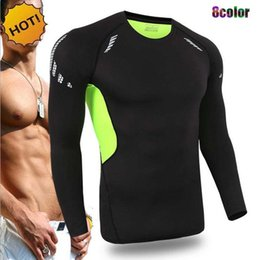 Wholesale Sport Traning - NEW Crossfit Outdoor sport running GYM Fitness Joggers Player Base Layer Men Long Sleeve SKinny Sweat traning Quick Dry T Shirt 9Color