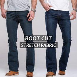 Wholesale Mens Black Classic Straight Jeans - Mens jeans boot cut leg slightly flared slim fit famous brand blue black male jeans designer classic denim Jeans