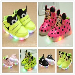 Wholesale Little Girls Red Shoes - 2017 Hot Children Shoes LED Pu Glitters Children Girls Boys Shoes For Little Monsters Kids Shoes Luminous Glowing With Light Size Eur 21-30