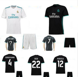Wholesale 17 REAL REALS MADRID TOP QUALITY ADULT SHORT SLEEVE KIT SOCKS SOCCER JERSEY WHITE PURPLE RD MEN SHIRT
