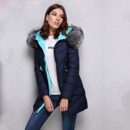 Wholesale Dark Blue Women Fur Coat - 2017 New Winter Collection Fashion Bio Down Thick Women Jacket faux fur collar Hooded Women Parkas Coats dark blue