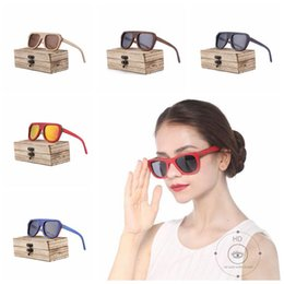 Wholesale Handmade Wooden Frame - 7 Colors Handmade Bamboo Wood Sunglasses Personality Googles for Unisex Luxury Brand Half Frame Polarized Glasses Without Case CCA7758 20pcs