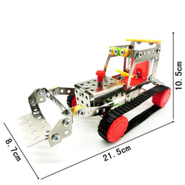 Wholesale Toy Bulldozers - Stereo 3D Assembly Toys Metal Stainless Steel Bulldozer Model Building Blocks For Child Killing Time Toy Bricks Popular LX015 B