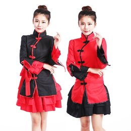 Wholesale Chinese Dress Uniform - Chinese Style Maid Outfit Costume Dancer Role Play Couture Show The Uniform Chinese Clasp Button Style Dress