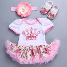 Wholesale Toddlers Wedding Suits - Wholesale- Baby Girl 2017 new wedding party dresses Rosette shoes crown headband set,kids dresses for girls,toddler girl clothing suits