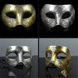 Wholesale Masquerade Mask Knight - (1000 pieces lot) New retro plastic Roman knight mask Men and women's masquerade ball masks Party favors Dress up a192-a196
