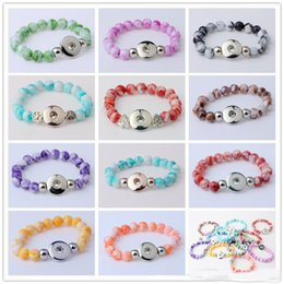 Wholesale Bangle Resin - NOOSA Hot Sale Snap Button Bracelet Bangles 10mm Resin Stone Beads 18mm Snaps High Quality DIY Snap Buttons Jewelry Single Snap