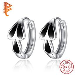 Wholesale 925 Silver Men 12mm - BELAWANG Separable Water Droplets Hoop Earrings for Men Women Black 925 Sterling Silver Male Design Love Heart Earrings Jewelry Gift 12mm