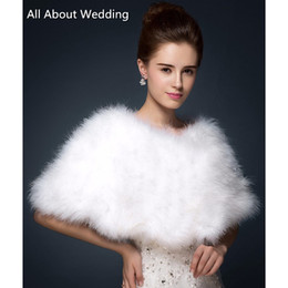 Wholesale Ivory Feather Wedding Shawl - Luxurious Ostrich Feather Bridal Shawl Fur Wraps Marriage Shrug Coat Bride Winter Wedding Party Boleros Jacket Cloak