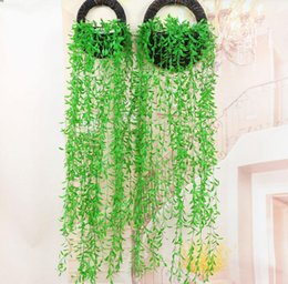 Wholesale Decorative Wall Baskets - 6pcs Hanging Artificial Green Wicker Willow Wall Ivy Garland Vine Greenery For Wedding Home Office Bar Decorative