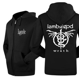 Wholesale Jacket Bands - Wholesale- Lamb of God Rock Band Winter Mens Hoodies And Sweatshirts Printed Hooded Jacket Casual Thick Men Zipper Skateboard Coat