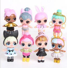 Wholesale Kawaii Baby Wholesale - 8-9CM LOL Surprise Doll Baby Fashion Dolls PVC Action Figure Anime Kids Toys For Christmas Gifts Kawaii Reborn Dolls 8pcs Set KKA2740