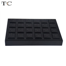 Wholesale Wooden Ring Jewelry Box - Black PU Leatherette Jewelry Display Tray For Rings 35*25cm Organizer Storage Holder Case Box Stand