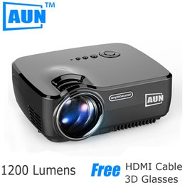 Wholesale Dvb T Lcd Tv - Free Shipping AUN Projector AM01 Series ( Optional Classic   DVB-T  ATSC   Android ), LED Projector LED TV Tuner Free HDMI Cable 3D Glasses
