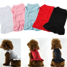 Wholesale Dress Size Small Free Shipping - free shipping Blank Plain small and large Pet Dog Cat Dress Skirt Clothes Costume 4 colors assorted in all sizes LLFA