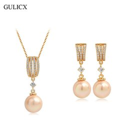 Wholesale Champagne Pearl Jewelry Set - GULICX Elegant Wedding Jewelry Sets Champagne Gold-Color Simulated-Pearl Pendant Necklace Earrings For Sexy Women Mother Gift