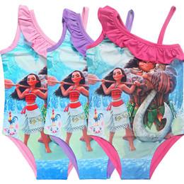 Wholesale Swimsuit Girl Baby - New 3 Color Girls Moana One-Pieces grenadine Swimsuit 2017 children cartoon moana sling baby Bikini swimming 3~10years B001