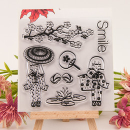 Wholesale Girl Scrapbooks - Wholesale- Japanese girl kimono pattern Scrapbook DIY photo cards account rubber stamp clear transparent seal background handwork art gift