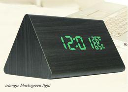 Wholesale Led Table Clock Temperature - LED Digital Alarm Clock Despertador Temperature Sounds Control LED Lights Display Electronic Desktop Digital Table Clock Home Office