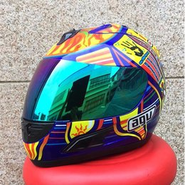 Wholesale MALUSHUN Cool Men Blue Motorcycle Helmet Rossi Five Continents NUmber Pattern Motocicleta Cascos Para Moto