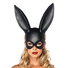 fashion women girl party rabbit ears mask black white cosplay costume cute funny halloween mask 0708091 - Girl Halloween Masks
