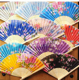 "Wholesale Cheap Folding Fans - 7"" Cheap Folding Silk Cloth Fan Wedding Party Favor Crafts Adult Women Floral Hand Fans 20 pcs lot Free shipping"
